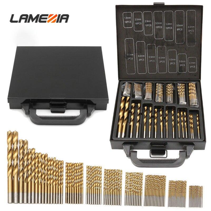LAMEZIA 99pcs High Quality 1.5-10mm Titanium Coated HSS Twist Drill Bits Set And Case Plastic Wood Metal Drilling Tool Kit Box
